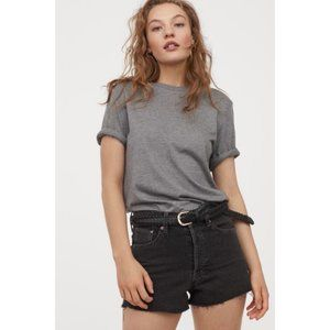 Acne High Rised 'DIY' Cut Faded Black Denim Shorts